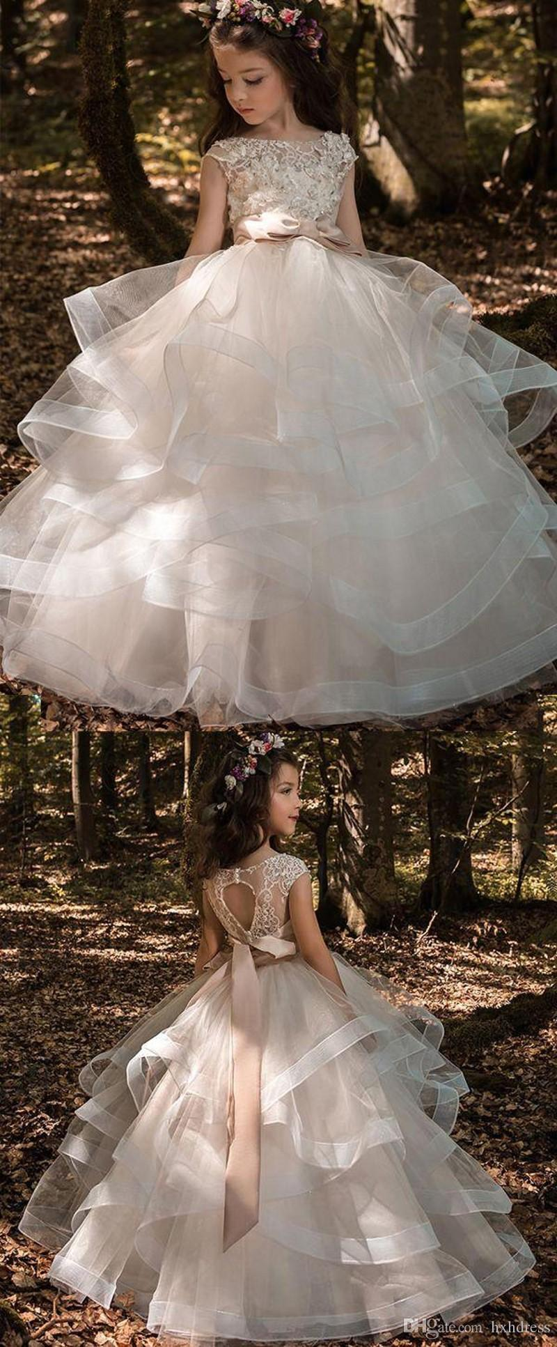 Tiered Ruffles Tulle Ball Gowns Girls Pageant Dresses Bow Floor Length Flower Girl Dress Lace Beaded Bateau Cap Sleeves Kids Wedding Dresses
