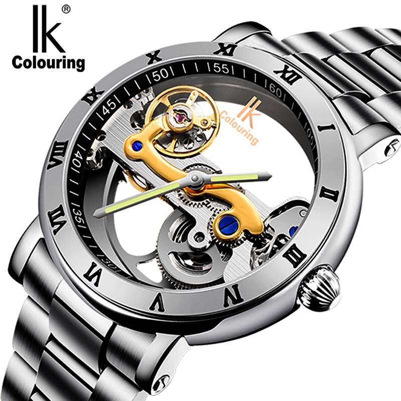Ik Colorear Reloj Deportivo De Lujo De La Marca De Moda Reloj De Acero Inoxidable Informal Mens Relojes De Pulsera Mecánico Esquelético Automático