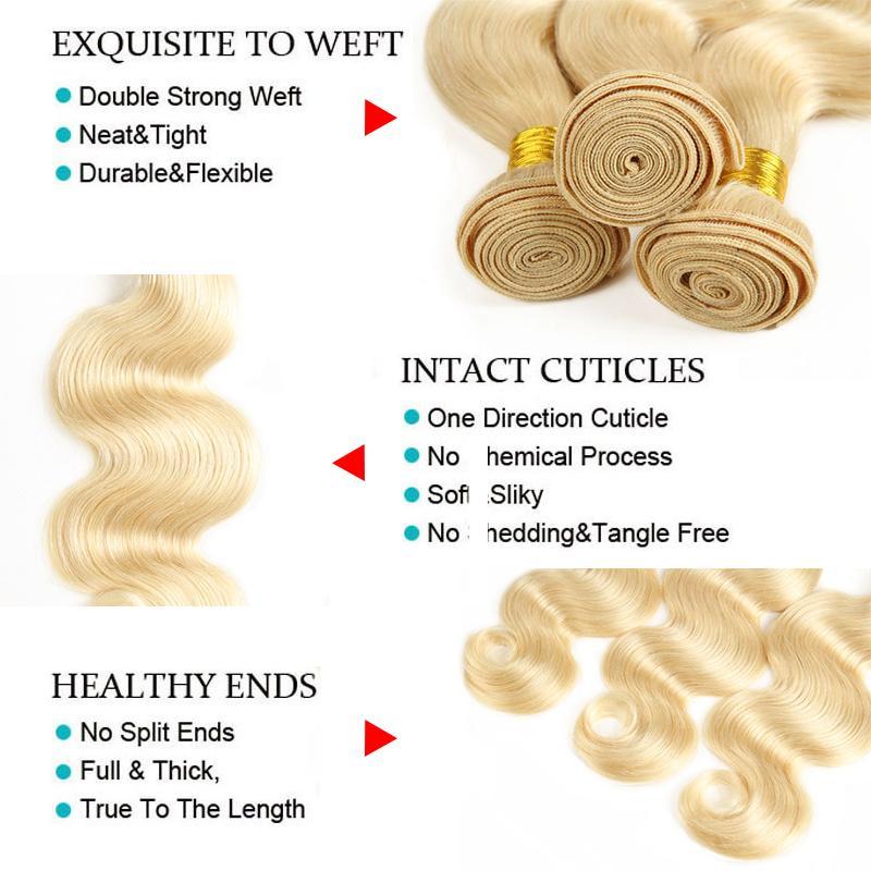 Peruanisches blondes reines Haar 13 * 4 Spitze Frontal mit 3 Bündeln Körperwelle brasilianische malaysische Farbe 613 blondes menschliches Remy Haar spinnt 10-24 Zoll