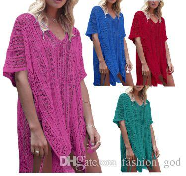 0d2e07294b5 Swimwear Crochet Swimsuit Women Knitted Beach Blouse Casual Bikini Cover  Ups Sexy Plus Size Dress Summer Loose Sunscreen Bathing Suit LY01 Black And  White ...