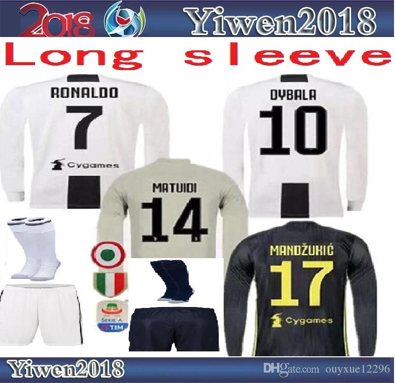 7b15f2b4a Long Sleeve 2019 Ronaldo Soccer Jerseys Shorts Juventus Kit 18 19 ...
