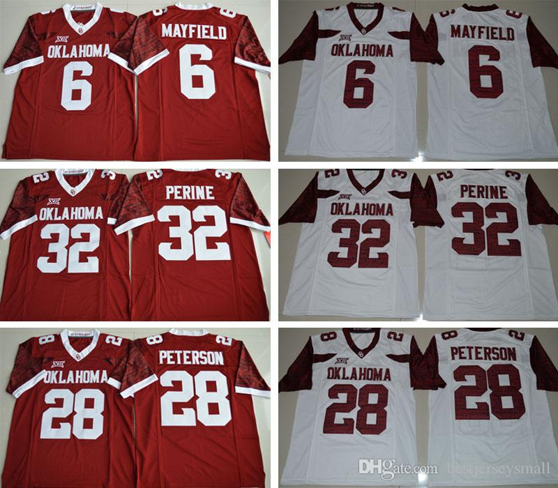 4c76a5a598a 2019 NWT Men Cheap Wholesale Oklahoma Sooners  28 Adrian Peterson  44 Brian  Bosworth  6 Baker Mayfield 32 Samaje Perine Stitched College Jerseys From  ...