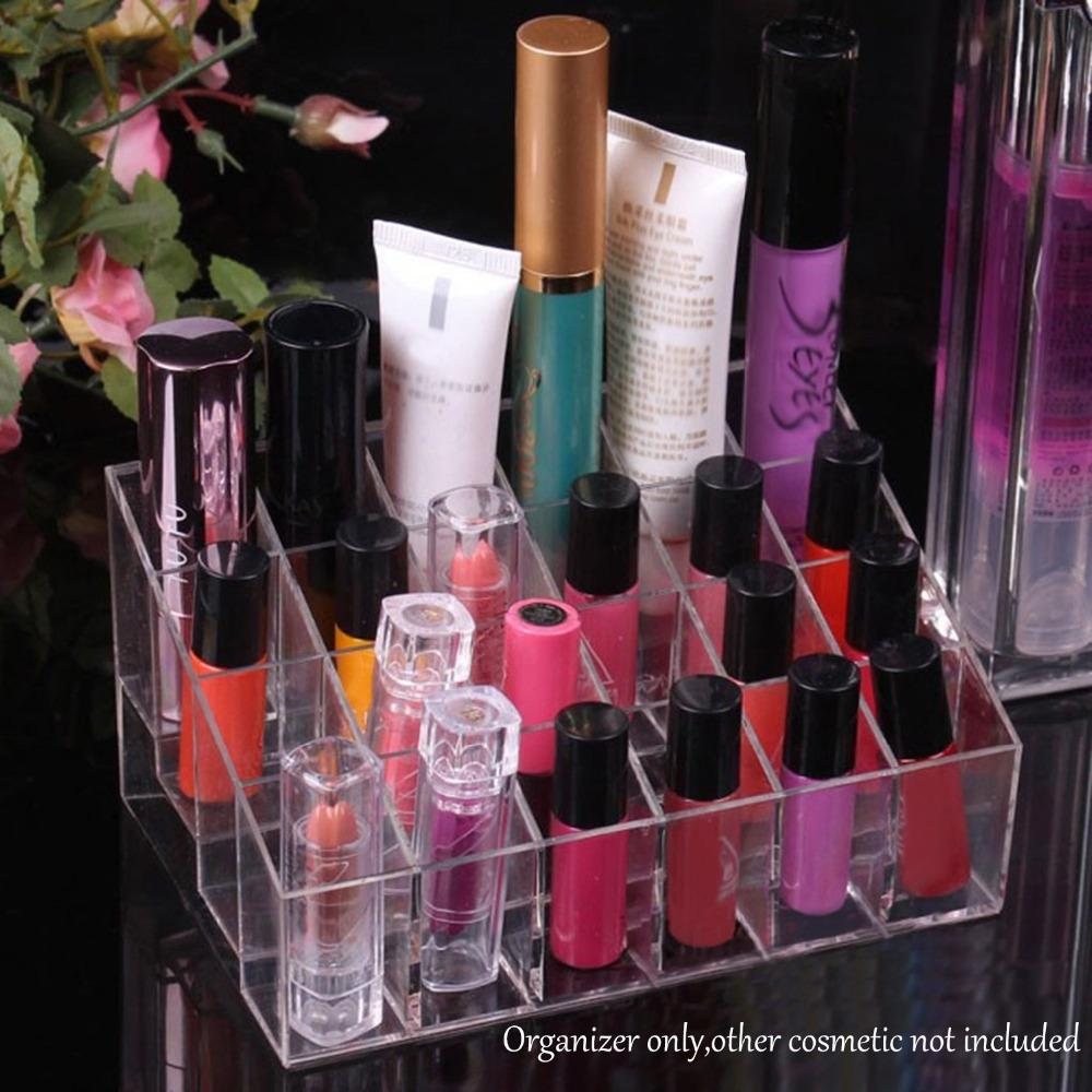Wholesale-Behogar Clear Acrylic 24 Lipstick Holder Display Stand Cosmetic Storage Rack Organizer Makeup Make Up Case Box Container Shelf