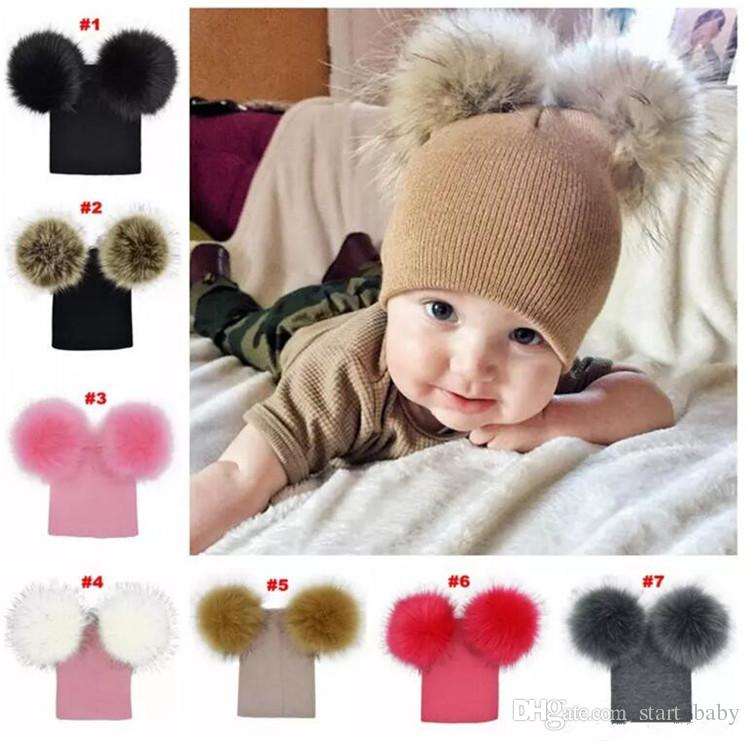 601cfa4eb05 2019 Kids Warm Crochet Hats Toddler Knitted Beanie With 2 Plush Fur Balls  Children Pom Poms Cap B11 From Start baby