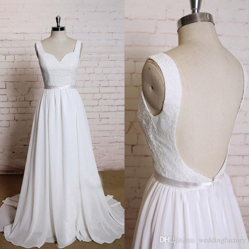 c741c55d8c Discount Sexy Backless Beach Wedding Dresses Scalloped Neck Sleeveless Lace  Chiffon Bohemain Bridal Gowns Cheap Wedding Dress With Sash Sweep Train  Wedding ...