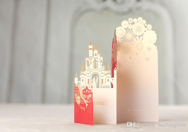 Vintage Castle Laser Cut Hollow Out Wed Invitation Party Wedding Invitations Day Evening Invite Card Printing Luxury Chinese Style