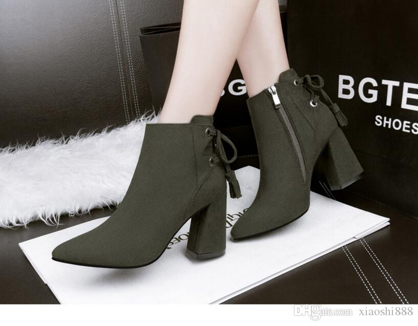 Hot selling new High quality new Woman High Heels Ankle Boots Female Zip Platform Sexy Part Dress Pump Women Fashion Buckle Suede Motorcycle