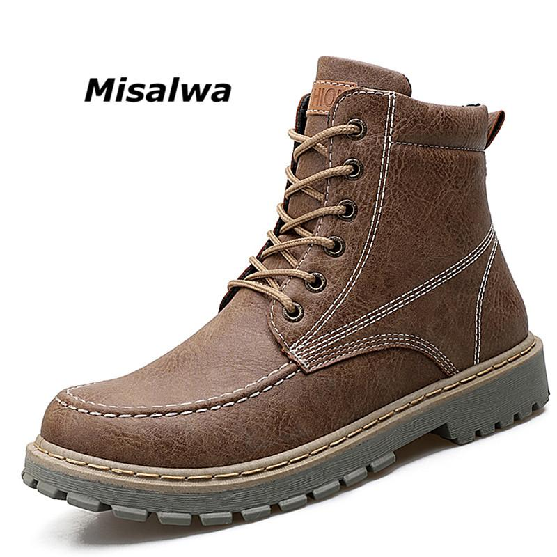 0c5286b6571 Misalwa 2018 Luxury Men Leather Winter Shoes Vintage Combat Boots Warm  Resistant Chukka Boots Spring Safety Work Botas Hombre