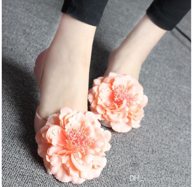 women Camellia Sand crystal jelly sandals Leisure vacation Soft feather FLat Super Classic sexy trend Super soft flats sandals Plus Size