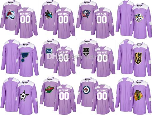 ... canada 2018 2018 customized vegas golden knights chicago blackhawks  nashville predators avalanche canucks purple fights cancer e2c4be41d