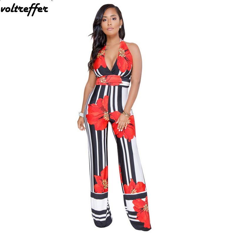 e18e1587807 2019 2018 Summer Red Flower Floral Print Halter Jumpsuit Flare Pants  Rompers Backless Wide Leg Overalls Combinaison Femme Elegante From Masue