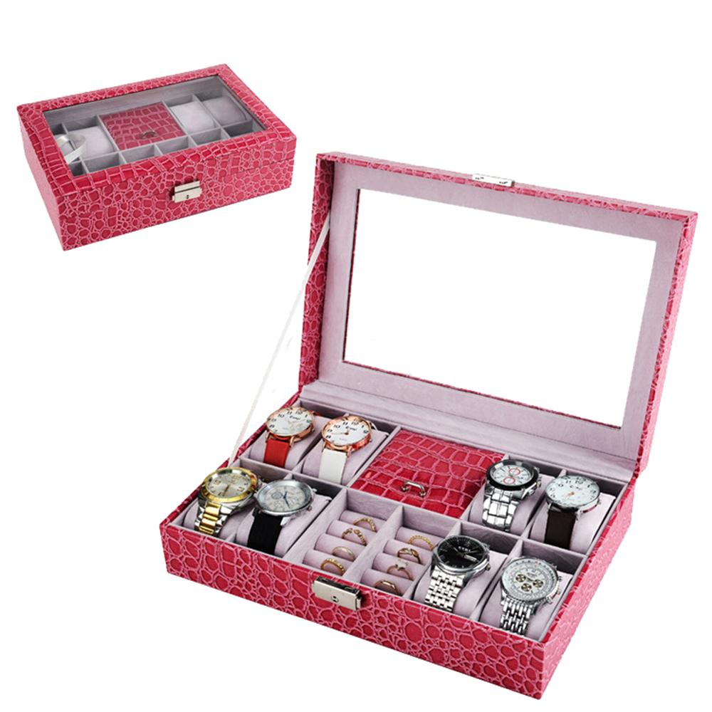 Brand Jewelry Watch Box Case Pink Black Leather Case Box Rings