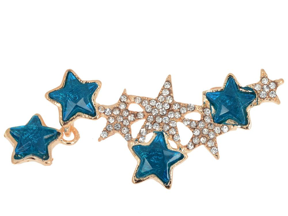 Hot Fashion Sweeps Clear Blue Crystal Star Ear Cuff Left Clip On Cartilage Ear Cuff Punk Earring Women Jewelry Drop Free