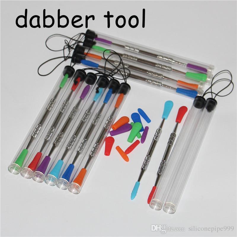 100 adet Balmumu dabbers Dabbing aracı silikon İpuçları ile 120mm cam dabber aracı Paslanmaz Çelik Boru Temizleme Aracı ve Plastik Tüpler