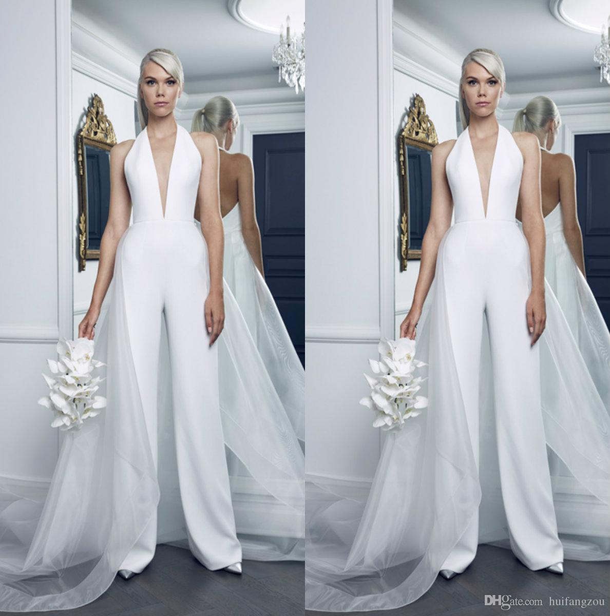 052ca3819cd Discount Modest Plus Size Wedding Dresses Women Jumpsuits With Tulle  Overskirt Deep V Neck Pure White Beach Wedding Dress Bridal Gowns Sexy Back  Beach ...