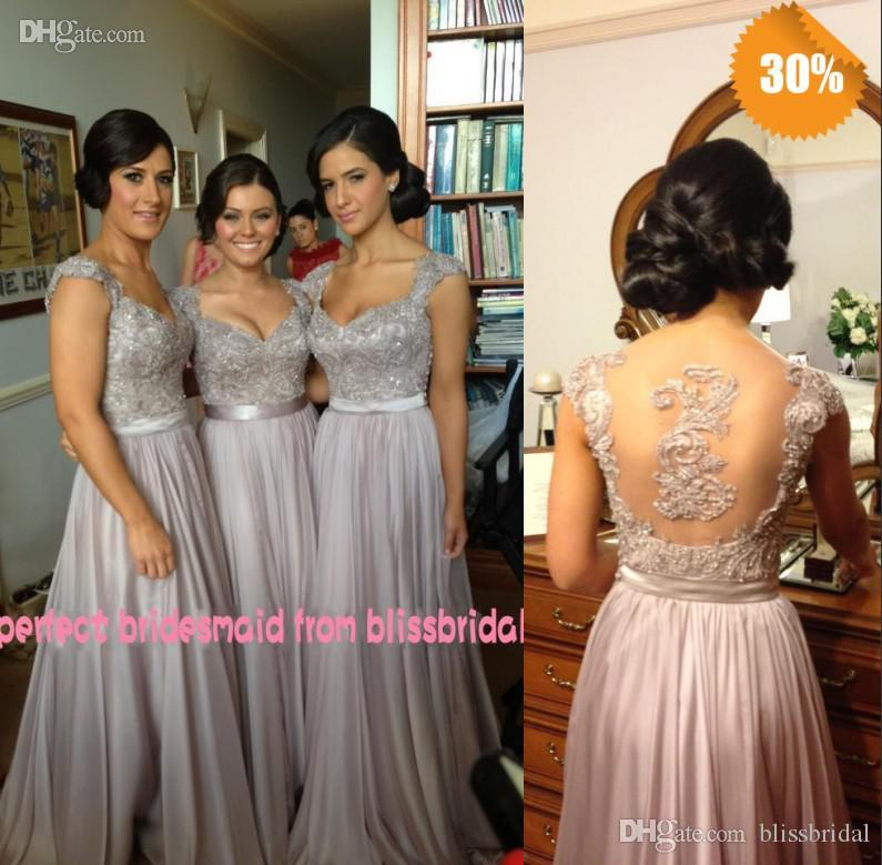 Hot V Neck A Line Cap Sleeve Chiffon Lace Beaded Cheap Bridesmaid Dresses  Free Ship Embroidery Applique Evening Dresses Wedding Guest Dress Clearance  ... d78ab5cdfdf6