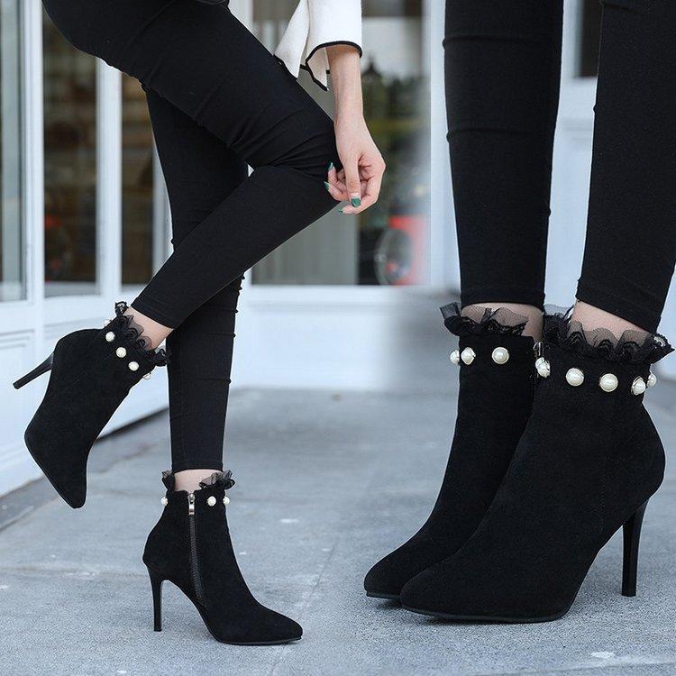 Compre Zapatos Mujer Nubuck Botas Tacones Gruesos Señoras Bombas 2018 Cristal  Mujeres De Piel De Invierno De Alto Diseñador Liangpian A  32.65 Del  Haolinbag ... 48a821521d62