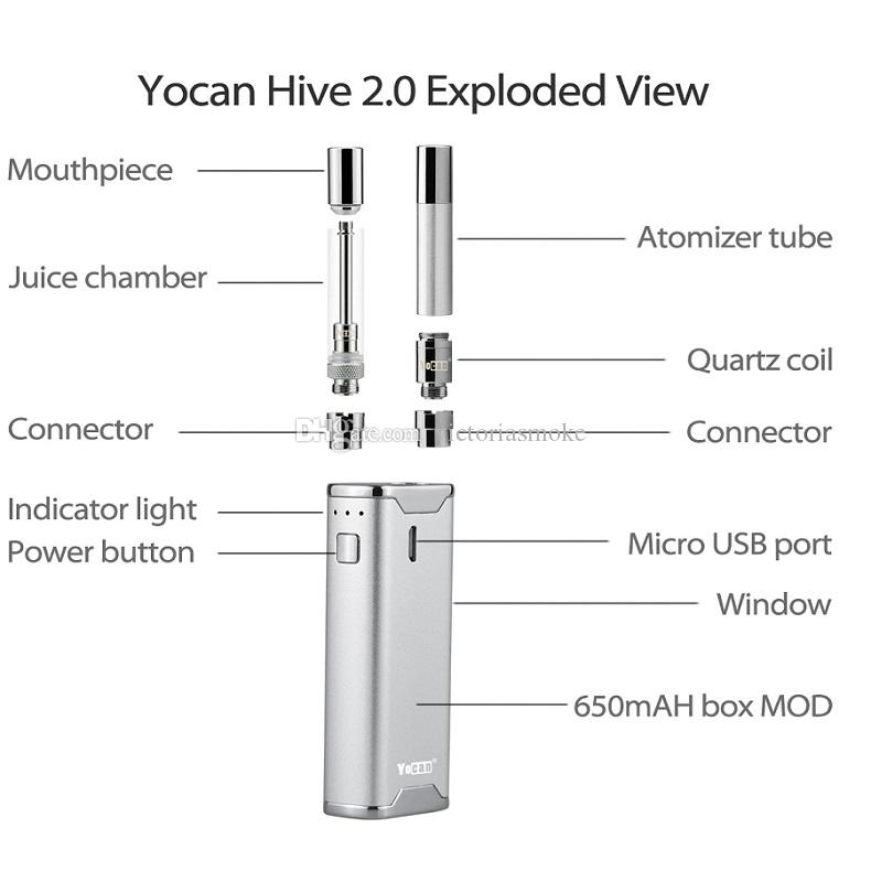 100% Authentic Yocan Hive Kit & Yocan Hive 2.0 2 Kind of Atomizer For Wax & Oil electronic cigarettes vape pen vaporizer Yocan Box Mods