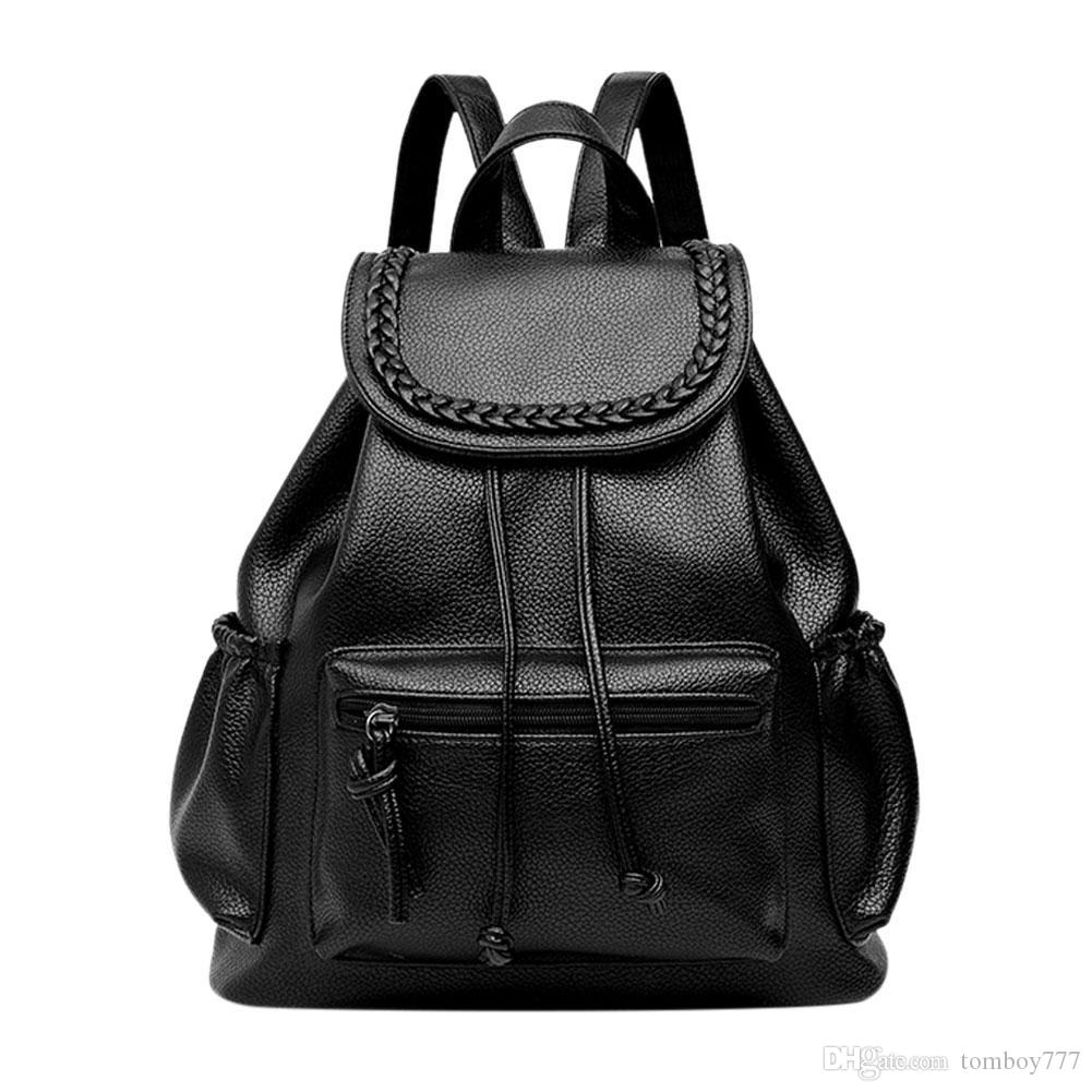503c58d8b06c Casual Soft PU Washed Leather Backpack School Bags For Teenage Girls Women  Backpack Black Leisure Travel Bag Boutique Backpacks Designer Backpacks  College ...
