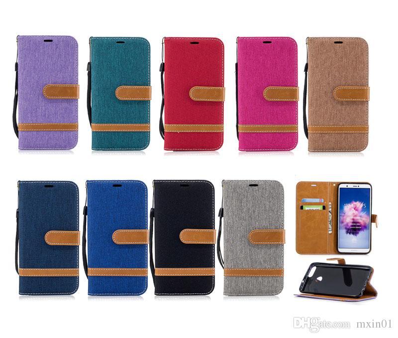 Custodia a portafoglio in pelle jeans ibrida in tela di jeans Huawei Y7 Prime Y5 II P8 Lite 2017 P10 Plus P20 Pro P9 Mate 9 10 20 P Smart Honor 7C 6X 7X