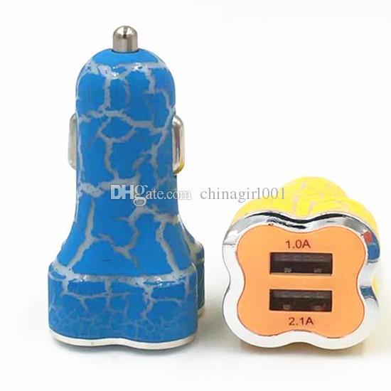 Deux ports colorés 2.1A + 1A Adaptateur allume-cigare pour le chargeur allume-cigare pour Samsung S6 S8 note 8