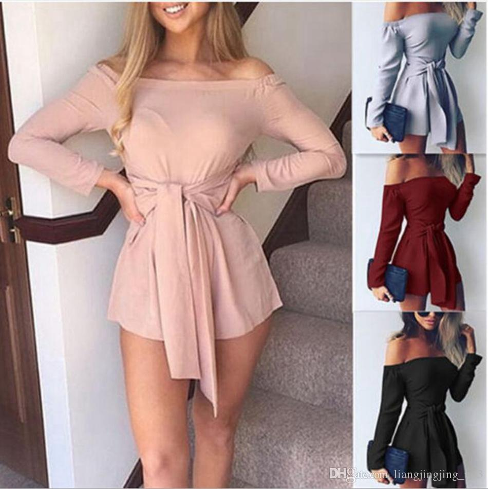 Women Off Shoulder Jumpsuit Ladies Casual Shorts Long Sleeve Playsuit Rompers Waist Tie Shorts Club Romper LJJO4595