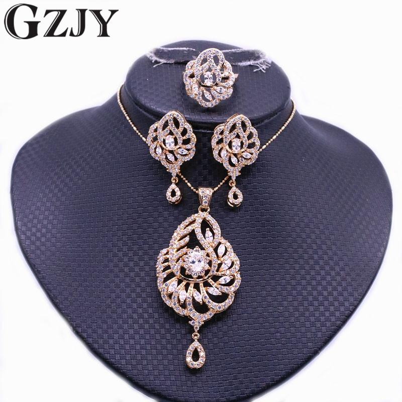 GZJY  Bridal Jewelry Champagne Gold Color Zircon Pendant Necklace Earring Ring Set For Women Fashion Wedding Party Gift