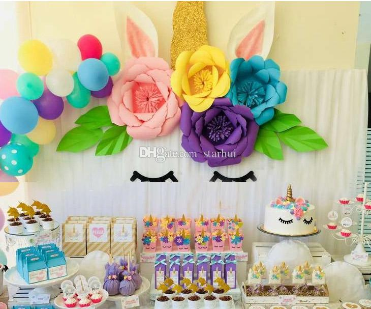 DIY Unicorn Theme Party Sets Decoration Wedding Party Artificial Flowers Banner And Glitter Ear Eyebrow Angle Kits Decoration WX9-606
