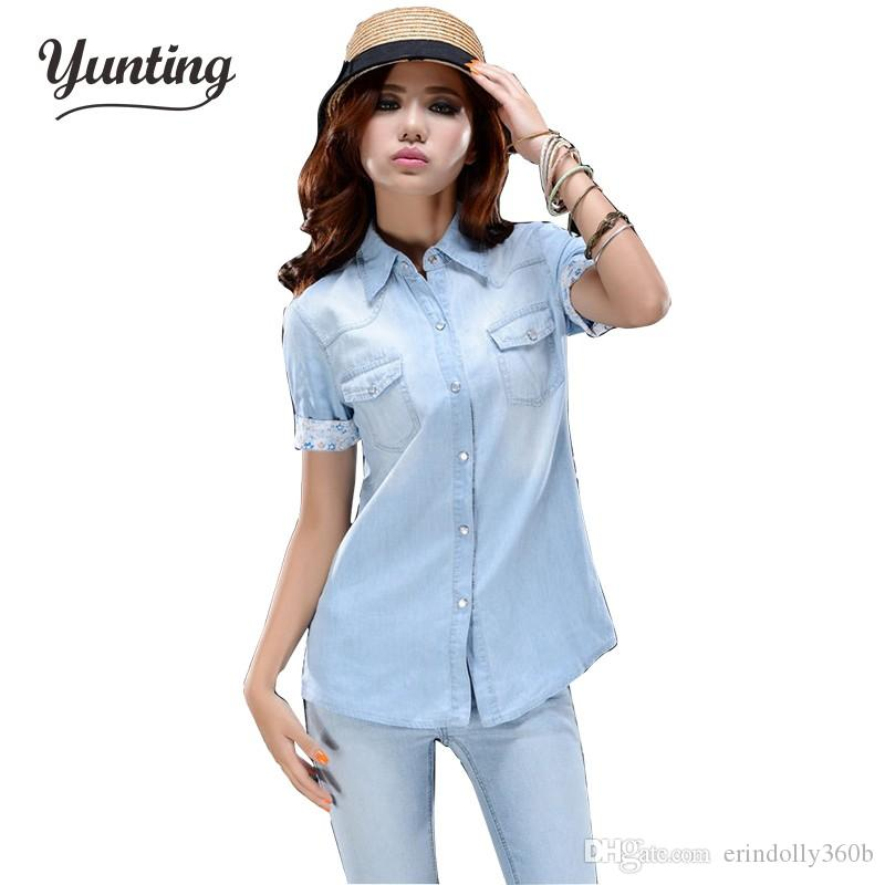 9c61a96641 Compre Camisa De Jen De Manga Corta Para Mujer Azul Para El Verano Suave A   17.7 Del Erindolly360b