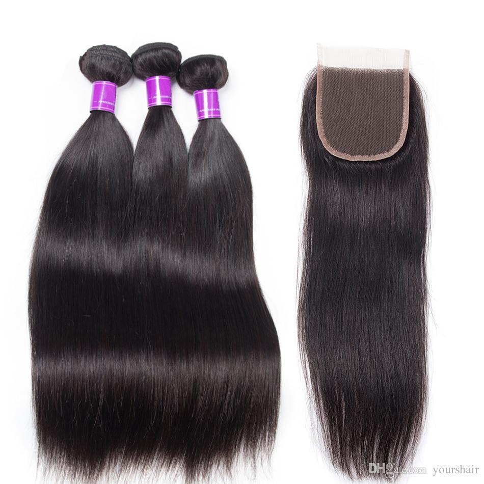 3 Bundles con oferta de cierre 4 piezas / lote visón Paquetes de armadura brasileña de pelo liso con cierre de encaje Cabello humano virgen Extensiones rectas