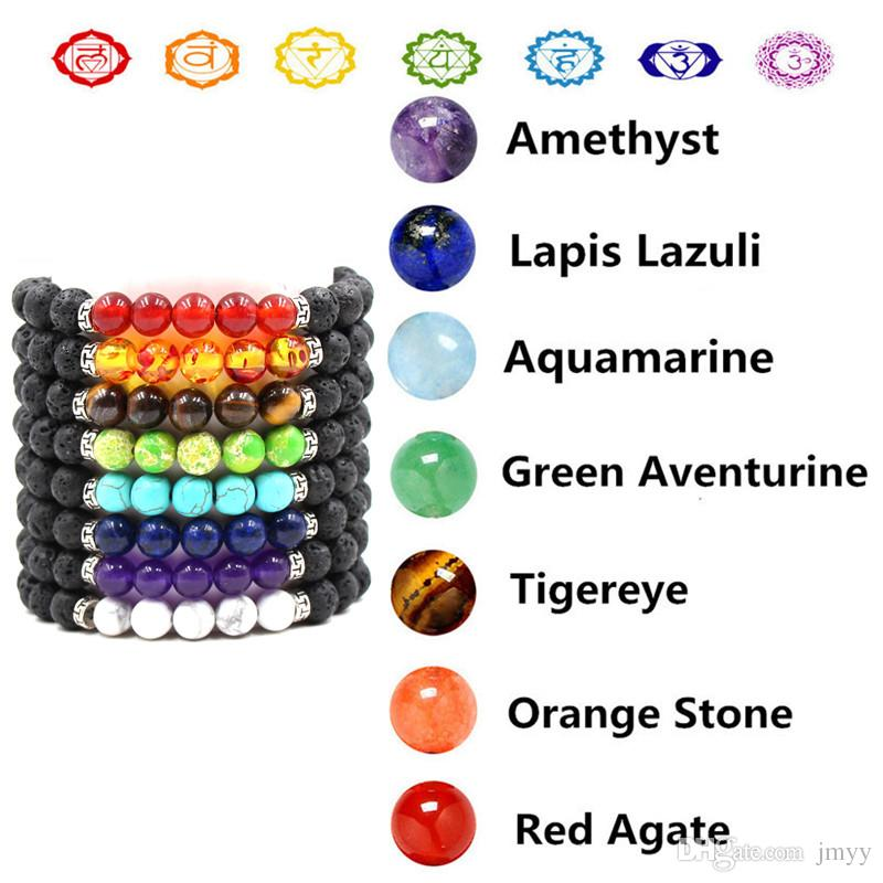Lava Rock Bracelets Natural Stone 5 Beads Silver Plated Charm Bracelet Red Agate Tigereye Yoga bracelet For Women & Men
