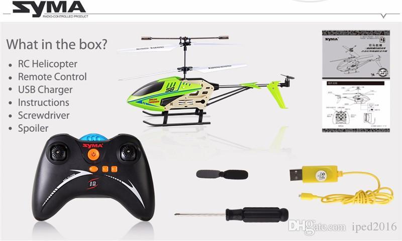 SYMA S8 3.5CH RC 헬리콥터 전기 Gryo 원격 제어 검색 빛 RTF 모델 장난감 선물 아이