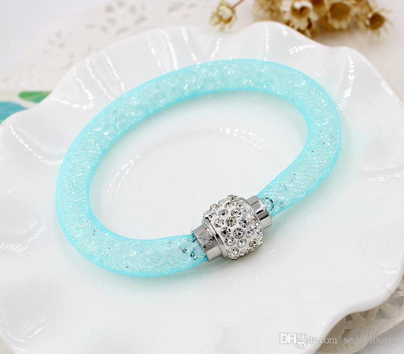 2018 Fashion Mesh Network Crystal Magnetic Buckle Silver Bracelet With Magnetic Clasp For Women Jewelry Christmas Gift Free DHL G378S