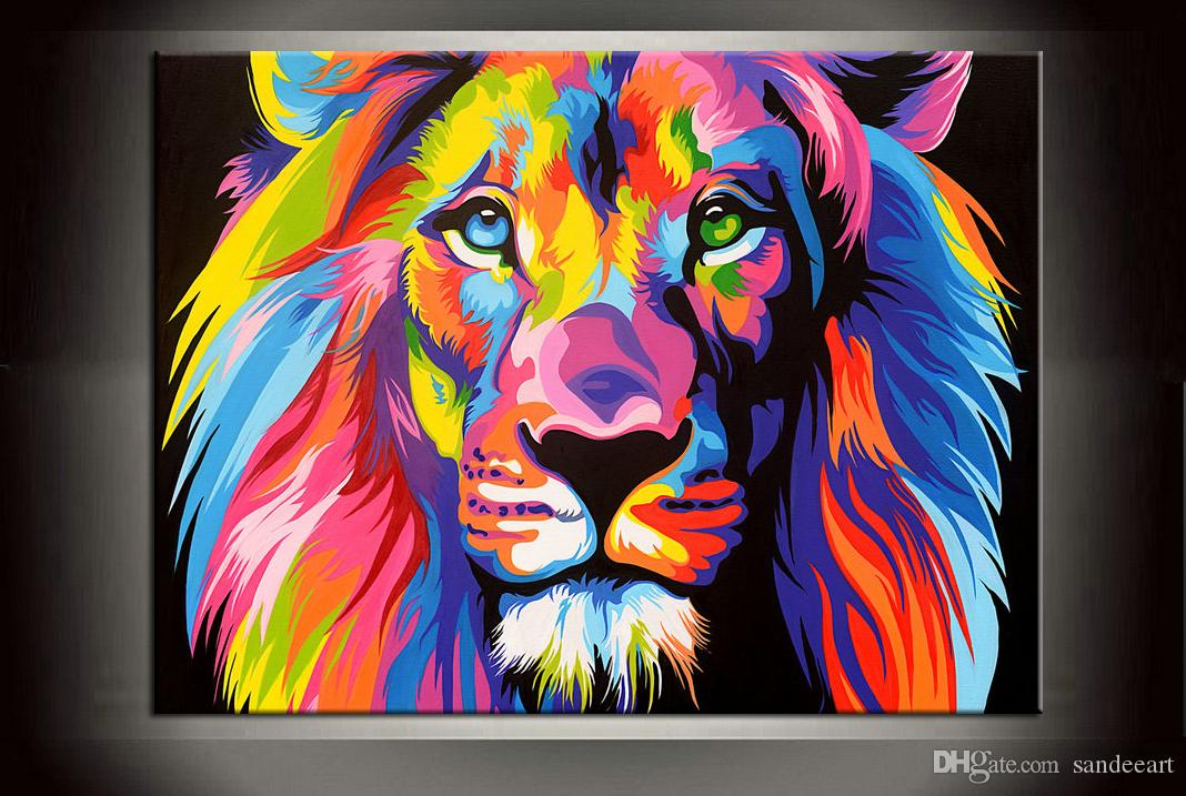 2018 modern gift colour lion painting pictures abstract art print on
