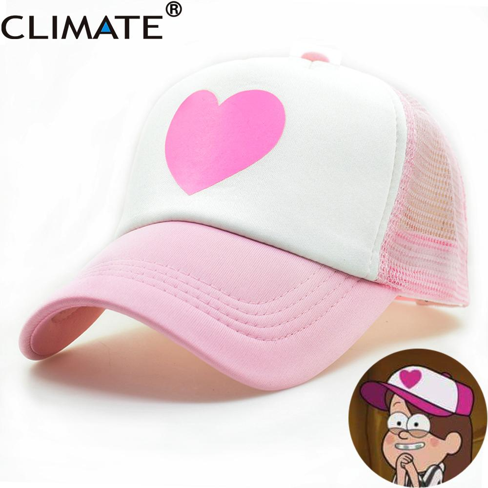 CLIMATE Girl Women Pink Mesh Summer Trucker Caps Gravity Falls Mabel Dipper  Cosplay Caps Young Girl Pink Cool Net Mesh Hat Visors Millinery From  Zebrear 960386533b0