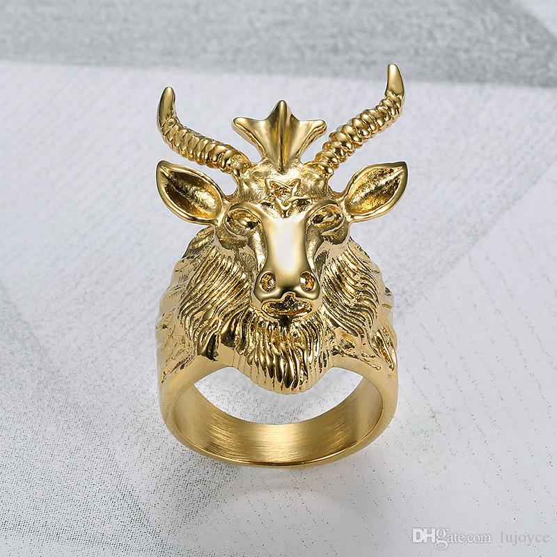 Unique Asterism Santa Ram Head Ring Fine Titanium Rings Punk Style Domineering Male Jewlry for Men