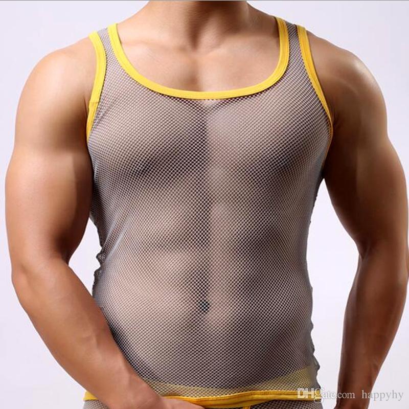 Hot Sale Brand Fashion Sexy Men's Mesh Vest Casual Spandex T-shirt Net Yarn Vest Slim Fit Undershirt Breathable Transparent Gay Underwear