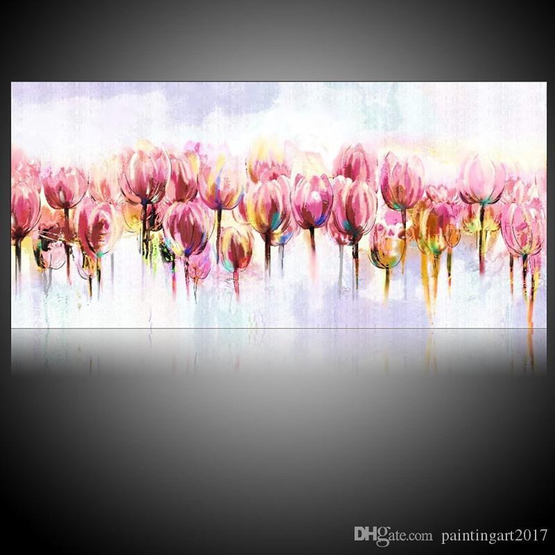 Peint à la main fleurs peinture à l'huile sur toile Peintures florales à la main grandes photos de fleurs de tulipes roses Accueil Art mural