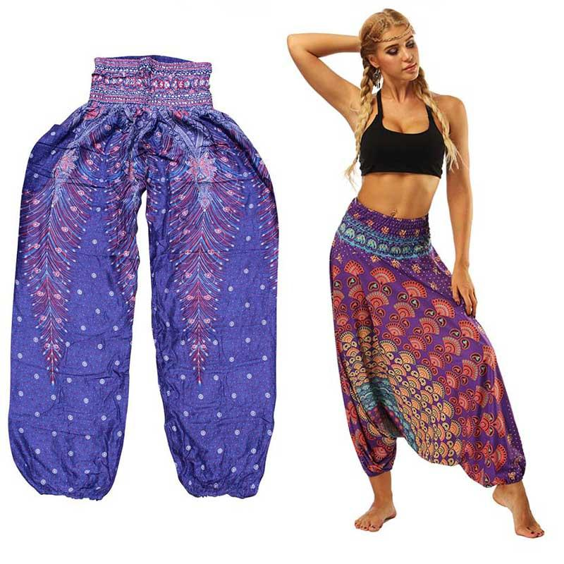 2018 Women Lantern Sport YGM Yoga Pants Ethnic style Elastic Dancing Loose Fit High Waist Beach Trousers Free Shipping