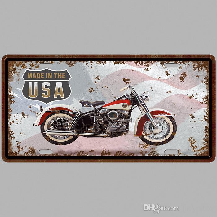 Мотоцикл Сделано в США супер горячая 3D выбить ретро номерные знаки старинные жестяная вывеска искусство настенная доска декор дома металл живопись бар паб