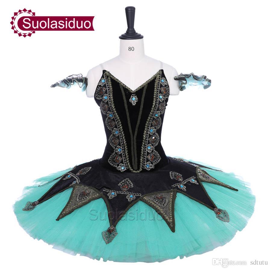 8c64fa3c7 2019 Adult Black Ballet Tutu Swan Lake Performance Stage Wear Women Green  Ballet Dance Competition Costumes Girls Ballet Skirt Apperal From Sdtutu,  ...