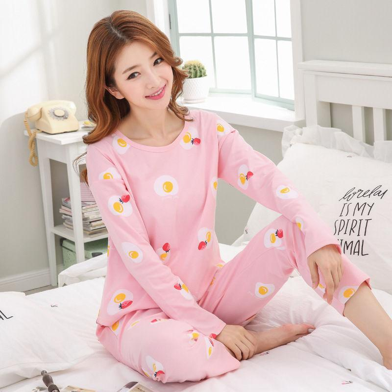 6fba54c9f2 2019 2018 Women Pajamas Sets Autumn Winter Cotton Clothing Long Tops Set  Female Pyjamas Sets NightSuit Sleepwear Women Home Wear From Walkerstreet