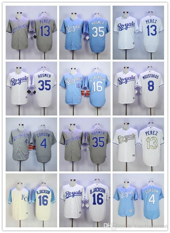 415337688 Kansas City Men's jersey 35 Eric Hosmer 5 George Brett 4 Alex Gordon 16 Bo  Jackson cool retro mesh Flex base 100% stitched baseball jer