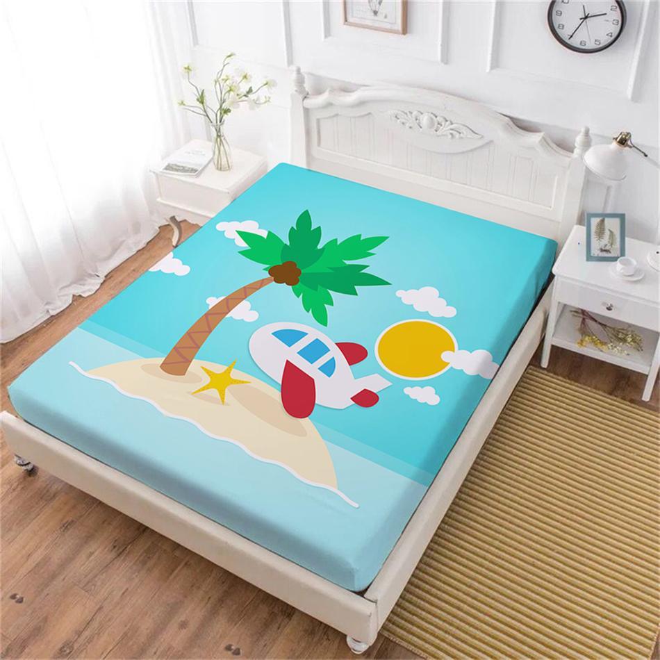 Acquista lenzuolo con paesaggi tropicali blu cartone animato stampa
