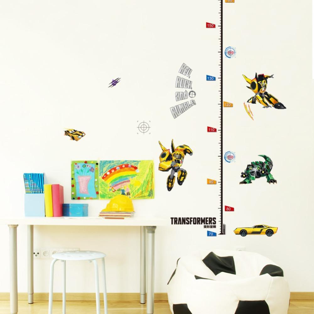 % Çocuklar Yükseklik Grafik Duvar Sticker ev Dekor 3D Karikatür araba Transformers Süpürgelik çocuk odası yatak odası Çıkartmaları Art Sticker duvar kağıdı