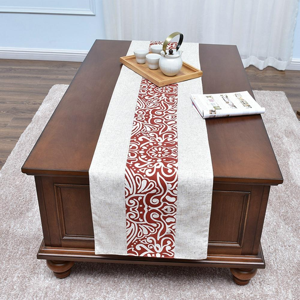 Linen Table Runners Printed Waven Red Home Decoration Table Runner White  Cloth For Wedding Home Hotel Decorative 35x180cm Wide Table Runners Wooden  Table ...
