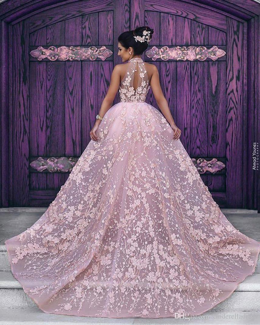 Neueste Arabisch Abendkleider Appliques Erröten Rosa High Neck Lange Prom Celebrity Party Kleider mit Abnehmbarem Zug BA6403