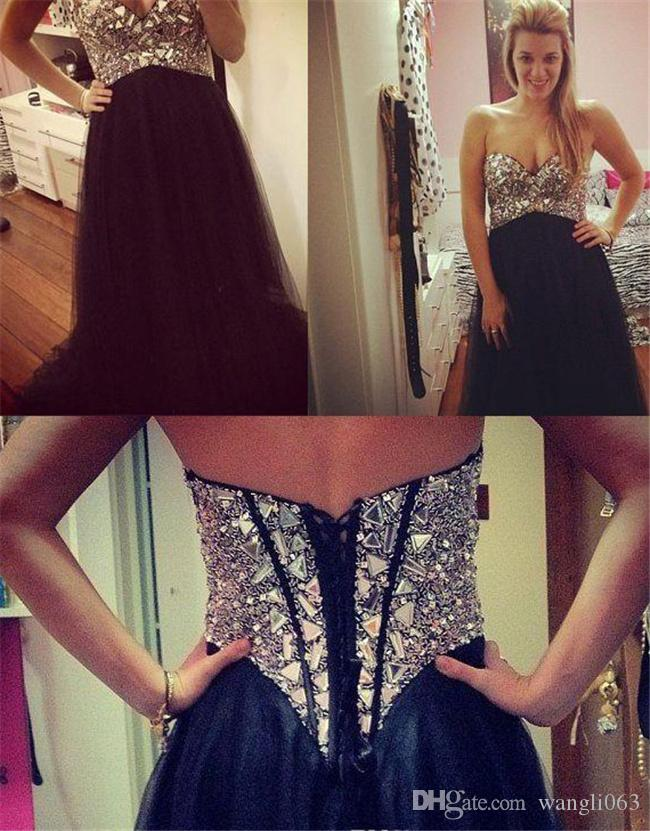 Beaded Crystal Prom Dress 2018 Sweetheart A Line Navy Blue Tulle Long Arabic Evening Dress Formal Wear Custom Made