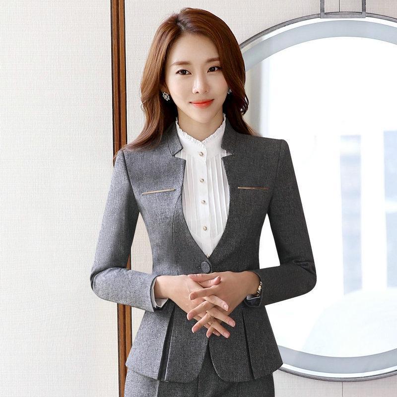 2019 Fashion 2019 Spring V Neck Stylish Women Blazers Blue Korean Slim Fit Female Blazer Women Office Work Suit Jackets White Blue Plus Size Professional Design Suits & Sets