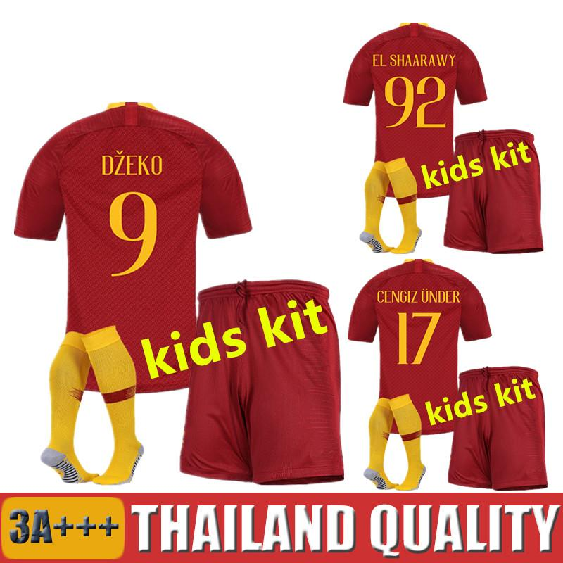 Kids Kit 18 19 DZEKO Soccer Jersey Totti 2018 2019 DE ROSSI PEROTTI Boys  Football Shirts NAINGGOLAN EL SHAARAWY Children Maillot Soccer Sets Online  Online ... 4fece7b37